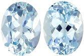 Very Pretty Aquamarine Matching Gemstone Pair in Oval Cut, 2.17 carats, Medium Blue, 8 x 6 mm
