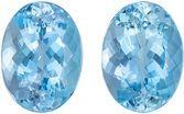 Well Cut & Bright Aquamarine Matching Gemstone Pair in Oval Cut, 11.66 carats, Top Gem Blue, 14 x 10.3 mm