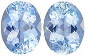 Wonderful Aquamarine Matching Gemstone Pair in Oval Cut, 2.21 carats, Rich Sky Blue, 8 x 6 mm