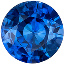 Wonderful Blue Sapphire Genuine Loose Gemstone in Round Cut, 0.89 carats, Vivid Rich Blue, 6 mm