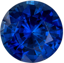 Wonderful Blue Sapphire Genuine Loose Gemstone in Round Cut, 1.3 carats, Vivid Intense Blue, 6.4 mm