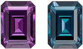 Gubelin Certified Genuine Loose Alexandrite Gem in Emerald Cut, 7.55 x 5.56 x 3.77 mm, Color Change Blue Green to Rich Magenta, 1.43 carats