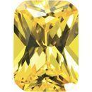 Yellow Cubic Zirconia Emerald Cut Stones
