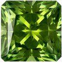 1.58 carats Green Tourmaline Gemstone in Intense Mint Green, 6.7 mm Radiant Cut