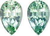 1.89 carats Pear Cut Blue Green Tourmaline Matched Pair, Seafoam Minty Blue Green, 7.9 x 5 mm