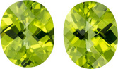Unique Pair of Peridots in Well Matched Pair , Checkerboard German Cuts, 5.91 carat - Great Price