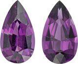12.0 x 6.6 mm Rhodolite Garnet Pair in Pear Cut, Beautiful Purple, 4.96 carats