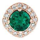 14 Karat Rose Gold Chatham Created Emerald & .08 Carat Total Weight Diamond Pendant