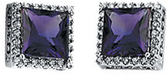 14 Karat White Gold Amethyst & 3/8 Carat Total Weight Diamond Halo-Style Earrings