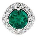 14 Karat White Gold Chatham Created Emerald & .08 Carat Total Weight Diamond Pendant
