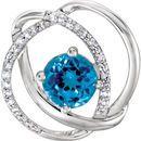 14 Karat White Gold Swiss Blue Topaz and 1/10 Carat Total Weight Diamond Pendant