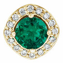 14 Karat Yellow Gold Chatham Created Emerald & .08 Carat Total Weight Diamond Pendant