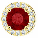 14 Karat Yellow Gold Chatham Created Ruby & .07 Carat Total Weight Diamond Pendant Slide