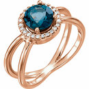 14KT Rose Gold London Blue Topaz & 1/8 Carat Total Weight Diamond Halo-Style Ring