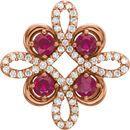14KT Rose Gold Ruby & 1/6 Carat Total Weight Diamond Clover Pendant