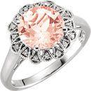 14KT White Gold Morganite & .08 Carat Total Weight Diamond Ring