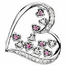 14KT White Gold Pink Sapphire & 1/6 Carat Total Weight Diamond Pendant