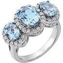 14KT White Gold Sky Blue Topaz & .04 Carat Total Weight Diamond Ring