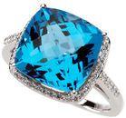 14KT White Gold Swiss Blue Topaz & 1/4 Carat Total Weight Diamond Ring