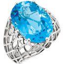 14KT White Gold Swiss Blue Topaz Nest Design Ring