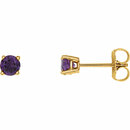 14KT Yellow Gold 4mm Round Amethyst Earrings