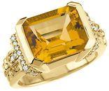 14KT Yellow Gold Citrine & 1/5 Carat Total Weight Diamond Ring