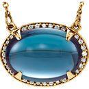 14KT Yellow Gold London Blue Topaz & 1/6 Carat Total Weight Diamond Halo-Style 16