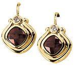 14KT Yellow Gold Mozambique Garnet & .06 Carat Total Weight Diamond Earrings