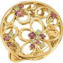 14KT Yellow Gold Pink Tourmaline & Peridot Floral Ring Size 7
