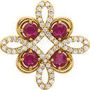 14KT Yellow Gold Ruby & 1/6 Carat Total Weight Diamond Clover Pendant