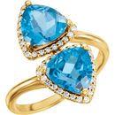 14KT Yellow Gold Swiss Blue Topaz & 1/5 Carat Total Weight Diamond Ring