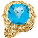 14KT Yellow Gold Swiss Blue Topaz Sculptural Ring