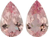 15.23 carat Pear Shape Morganite Matched Pair Loose Gems, 17.9 x 11.5 mm