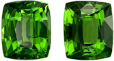 2.17 carats Pair of Tsavorite in Cushion Cut, Rich Grass Green Color in 6.4 x 5.3 mm Size - SOLD