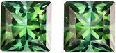 2.30 carats Pair of Blue Green Tourmaline in Striking Grass Green, 6.1 mm Princess Cut