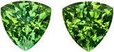 6.4 mm, 2.22 carats Pair of Fiery Green Tourmalines in Trillion Cut, Vivid Mint Green in Trillion Cut