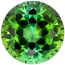7.3 mm, 1.66 carats Green Tourmaline Gemstone in Round Cut, Bright Grass Green Teal Color - SOLD