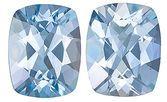 A Great Match! Eye-Catching Unheated Pair of Brazilian Aquamarine Gemstones, Cushion Cut, 4.93 Carats