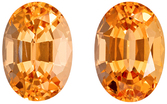 Appealing Well Matched Pair of Topaz in Oval Cut, Peachy Golden, 9.2 x 6.5 mm, 4.69 carats