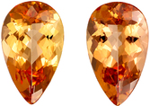 Attractive Rare Pear Cut Topaz Well Matched Pair, Sherry Tinged Peach, 12 x 7.2 mm, 5.14 carats