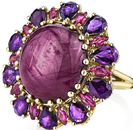 Beautiful 20.15ct Oval Star Ruby Flower Ring With Marquise & Pear Ruby Petals - 18kt Yellow Gold