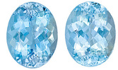 Beautiful Pair of Large Aquamarine Genuine Gems, Oval Cut, 9.56 Carats