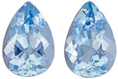 Bright Blue Aquamarine Matched Pair in Pear Cut, Matched Blue, 9.9 x 6.8 mm, 3.16 carats