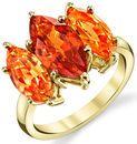 Bright & Bold 18kt Yellow Gold Triple Marquise Garnet Gemstone Ring - Hessonite & Spessartite Garnets