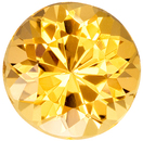Bright & Lively Topaz Gemstone in Round Cut, Vivid Peachy Golden, 6.9 x 6.9 mm, 1.49 carats