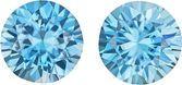 Brilliant Blue Zircon Matched Pair in Diamond Cut, Rich Blue Color, 7.5 mm, 4.25 Carats