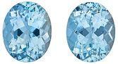 Brilliant Pair of Fine Medium Blue Aquamarine Gems, Oval Cut, 5.33 Carats