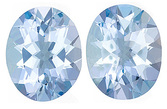 Classic Pair of Calibrated Aquamarine Gemstones, Oval Cut, 4.18 Carats