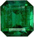 Classic Zambian Emerald Gemstone in Emerald Cut, Rich Deep Green Color, 9.3 x 8.3 mm, 3.48 carats