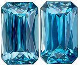 Dazzling Vivid Blue Zircon Pair - Elegant Shape in 10 x 6 mm Radiant Cut, 6.87 carats
